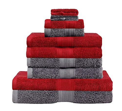 GREEN MARK Textilien 10 TLG. FROTTIER Handtuch-Set mit verschiedenen Größen 4X Handtücher, 2X Duschtücher, 2X Gästetücher, 2X Waschhandschuhe | Farbe: Anthrazit/Bordeaux | Premium Qualität