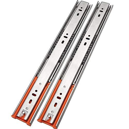1 par de deslizadores de cajón de armario de alta resistencia, cierre suave de 3 secciones, rodamientos de bolas, soporte lateral para cajón, 10 libras (tamaño: 25 cm)