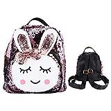 Junluck Mochilas de Lentejuelas de 3 a 6 años para niñas, Mochilas para la Escuela, Mochilas para niños, Mochila Preescolar con patrón de Conejo de Dibujos Animados para Almacenamiento(Pink)