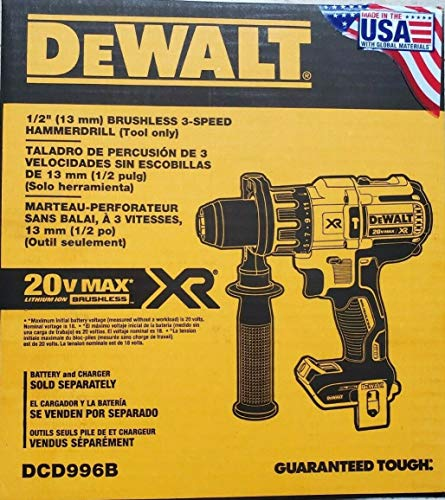 Product Image of the DeWalt DCD996B 20V MAX XR Lithium Ion Brushless 3-Speed Hammerdrill (Tool Only)