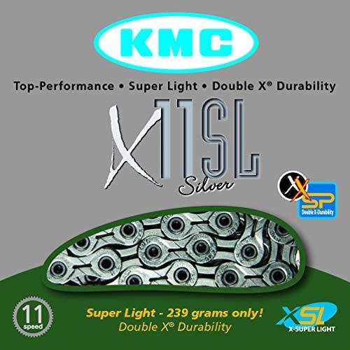 KMC Chain X-11-SL Cadena Estrecha, Unisex Adulto, Plata, 114 eslabones