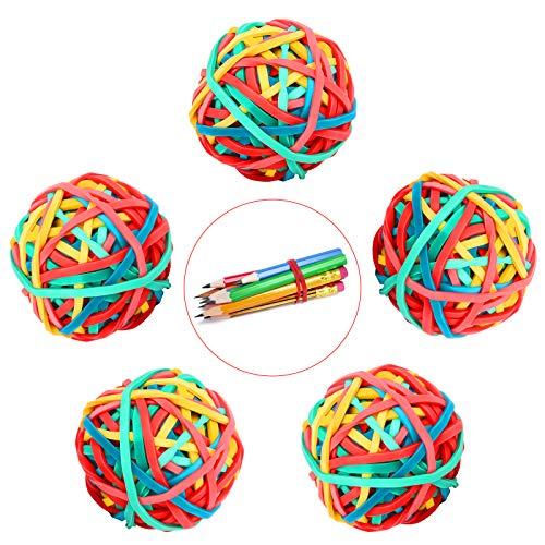 Bunte Gummibänder Kugel 5 Rollen Dehnbare Gummibänder Büro Gummibänder Ball, Elastische Band Kugel Gummiringe für DIY Handwerk Basteln Dokument Organisieren