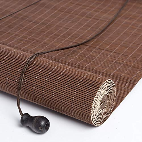 R&F Wooden Roller Shades with Hooks, Brown Blind Sun Shade Curtain Privacy, Great for Balcony Pergola Garden Kitchen Window(Size:W 120cm × H 140cm)