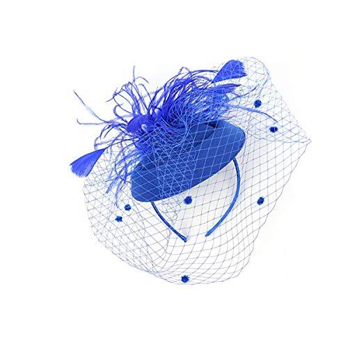 REYOK Fascinator Sombrero de Malla para Mujer - Pluma Novia Pluma Clip...