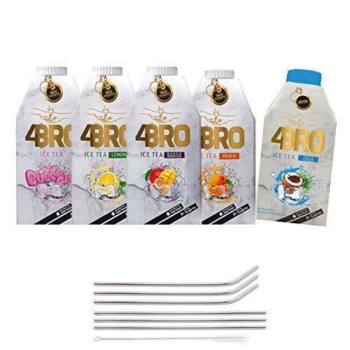 SET 4BRO Ice Tea Eistee mit Gratis Genussleben Alu Strohhalm (5er Mix, 15x 500ml)