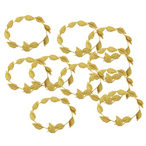 Sale!! Bonarty 10pcs Gold Leaf Roman Greek Goddess Laurel Wreath Fancy Dress Party Headband