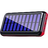 KEDRON Powerbank Chargeur solaire 24000 mAh Batterie externe portable avec 3 sorties et 2 entrées pour smartphone, tablette pour les voyages en extérieur