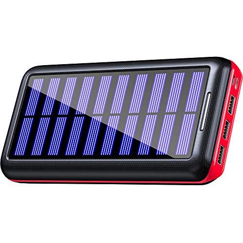 KEDRON Powerbank Solar 24000mAh Solar Ladegerät Externer Akku tragbares Ladegerät mit 3 Ausgänge & 2 Eingänge für Smartphone Tablet für Outdoor Reisen Dienstreise