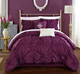 Chic Home Halpert 6 Piece Comforter Set Floral Pinch Pleated Ruffled Designer Embellished Bed Skirt and Decorative Pillows Shams Included, Queen, Purple
