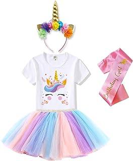 Tutu and Sian Unicorn Outfits for Girls - Headband, T-Shirt, Tutu Skirt Dress