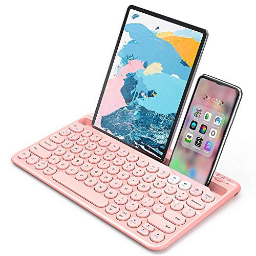 Bluetooth Keyboard, Jelly Comb Multi-Device Universal Bluetooth Rechargeable Keyboard with Integrated Stand for iPad Tablet Smartphone PC MacBook Android iOS Windows Devices-B046 (Pink)