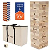 Rally and Roar Toppling Tower Giant Tumbling Timbers Game 2.5 feet Tall (Build to Over 5 feet)– Classic Wood Version - for Adults, Family – Stacking Blocks Set w/Canvas Bag