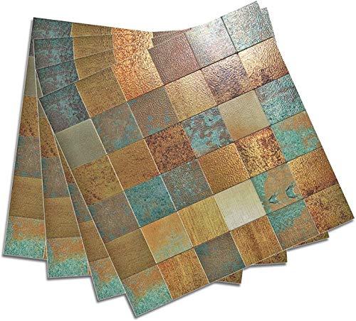 HomeyStyle - Piastrelle adesive da Parete per Cucina, Superficie in Alluminio, Mosaico, quadrate, Imitazione ruggine, Classico, retrò, 30,5 x 30,5 cm, 5 Piastrelle