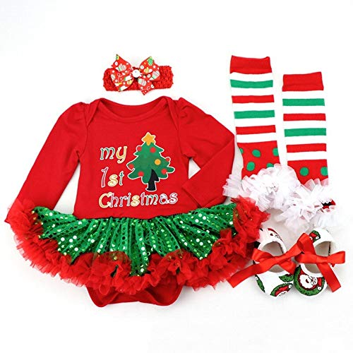 Adornos de bolas de Navidad, bolas de Navidad, vestido de Navidad, vestido de manga larga, ropa de niña, disfraces de niños, fiesta de fiesta de Año Nuevo (color: naranja, tamaño de niño)