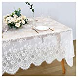 White Lace Tablecloth Exquisite Wedding Lace Fabric 60x120 inches Vintage Lace Overlay Rectangle Outdoor Party Event Decoration Classic Lace Tablecloth Spring