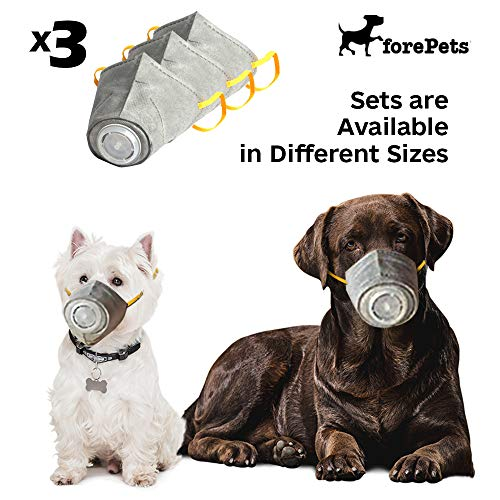 forepets Set of 3pcs Breathable, Protective Anti Fog, Anti Dust, Anti Smoke Dog Muzzle Protective Mask with Adjustable Strap for Small to Large Dogs, Pet Respirator Mask (S)