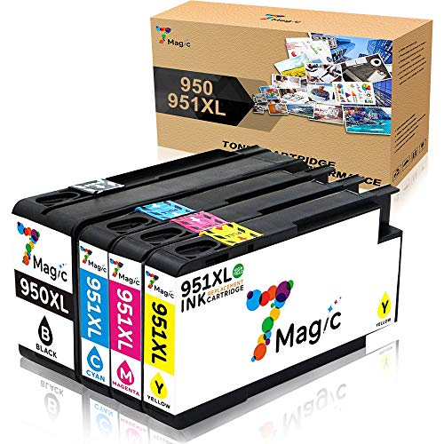 7Magic 950xl 951xl Cartuchos de tinta de repuesto compatibles con HP Officejet Pro 8100 8600 8610 8620 8630 8640 8660 8615 8625 251dw 276dw (1 negro, 1 cian, 1 magenta, 1 amarillo)