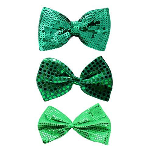 VALICLUD 3PCS St. Patricks Day Bowties Sequin Glitter Shamrock Clover Green Neck Bowties for Irish Festival Party Favor Wedding Carnival Costume Decoration