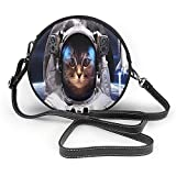 TURFED Bolso de hombro redondo de PU Moda Gato espacial Gato en cosmonauta Ropa del espacio exterior en Cosmos Viaje con cohete Arte temático Bolso bandolera
