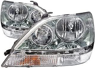 HEADLIGHTSDEPOT Compatible with Lexus RX300 Chrome Headlights Halogen Headlamps Driver/Passenger Pair New