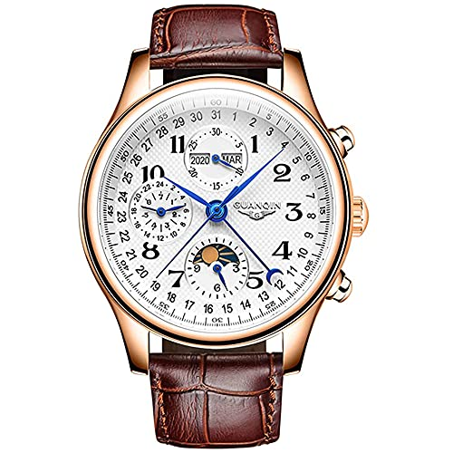 Guanqin Herren-Armbanduhr, analog, automatisch, selbstaufziehend, mechanisch, mit Edelstahl/Lederband, Mondphase, Rosa, Weiß, Braun., M, 39mm,