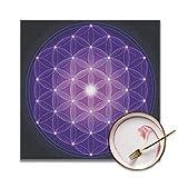 Strawberryran Fiore Blu Scuro della Vita con Stelle Simbolo Geometria Sacra Stampa Antica ...