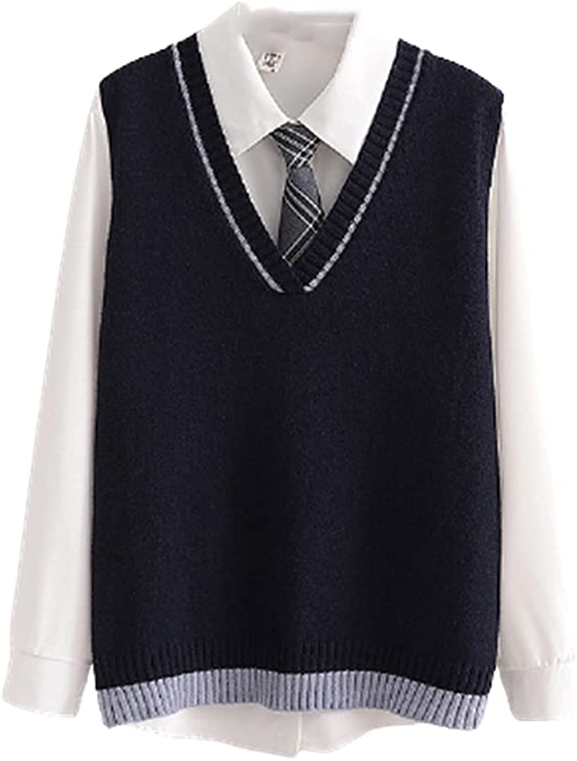 Women Autumn Knitted Vest and Shirt Suit Preppy Style Sweater Long Sleeve Shirts 2 Pieces Sets