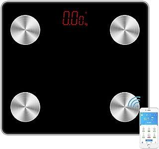 XHXMM Báscula Grasa Corporal, Báscula de Baño Bluetooth, Composición Corporal Medida de 12 Funciones, 4 Sensores, Display Led, IMC/Músculo/Grasa Corporal/Masa ósea e