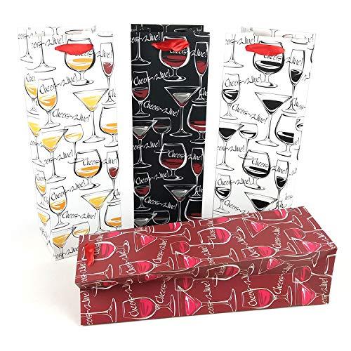 8 bolsas de regalo de vino con etiqueta de regalo y asas, diseño de copa de vino, portabotellas para cumpleaños, ocasiones especiales, 39 cm de alto x 12 cm de ancho x 9 cm de profundidad