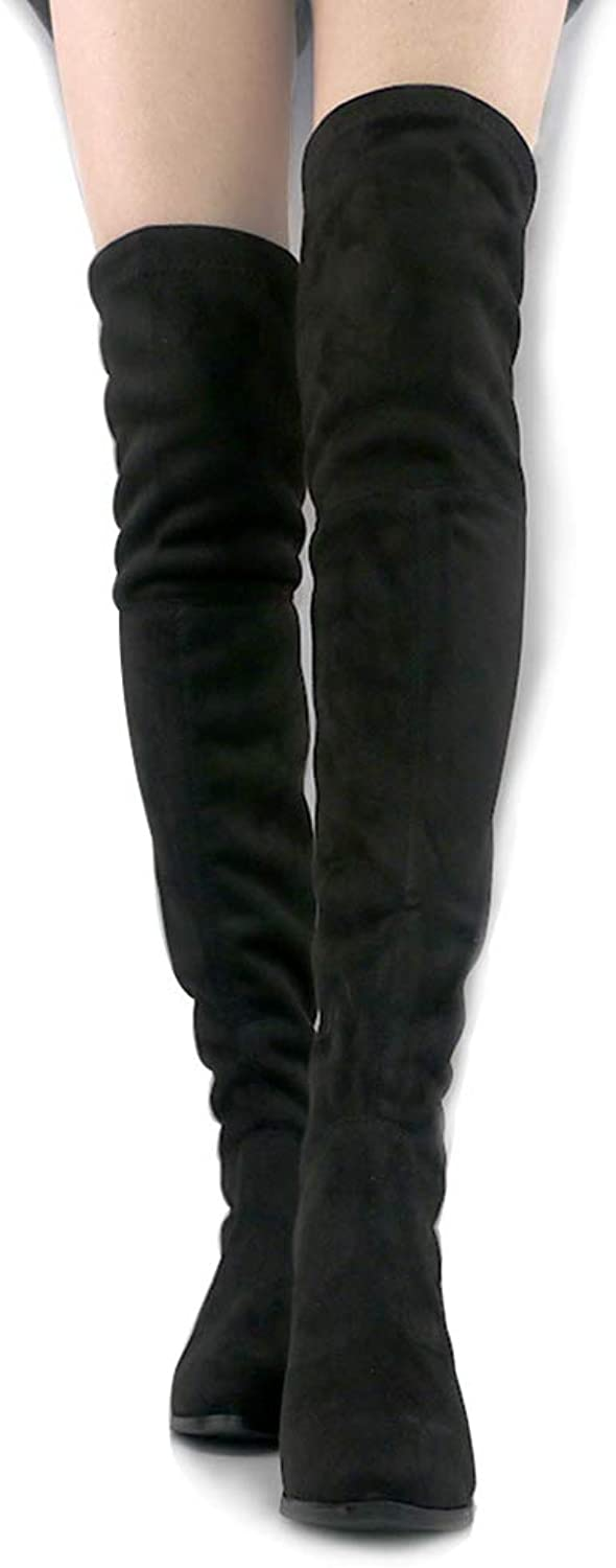 Woment Over The Knee Boots Winter Suede High Heel Boots High Heel Fashion Lace-up Thigh High Boots