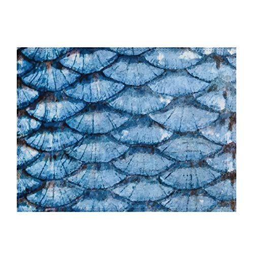 No Brands Dining Table Placemats, Farmhouse Table Mats, Blue Part of Fish Scale Rope Metal Symmetrically, Heat-Resistant Placemats, Table Mats, for Dining Table, Kitchen Table Mats, 16' x 12'