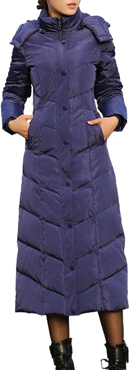 ebossy Women's Chevron Quilted Slim Maxi Down Puffer Coat Jacket Winter Hooded Parka