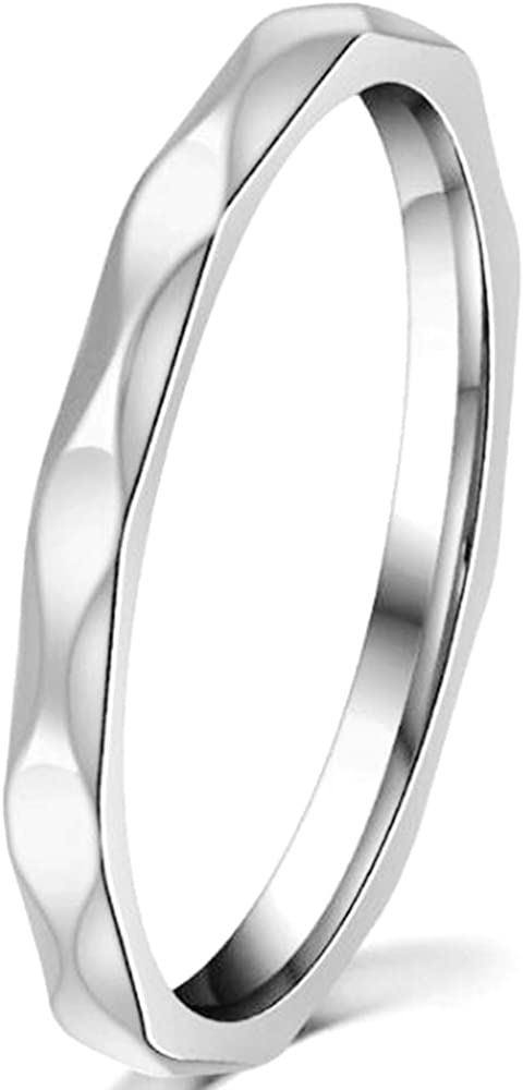 2mm Stainless Steel Thin Stackable Classical Simple Plain Wedding Band Ring