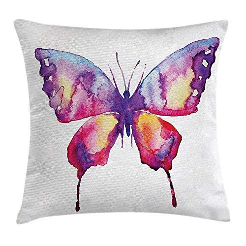 Funda de cojín de almohada de acuarela,pintura de mariposa en colores de pincel con fugas Imagen hippie de espíritu animal,funda de cojín de almohada decorativa cuadrada 45X45CM violeta magenta
