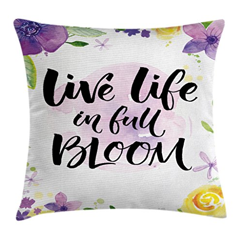 Ambesonne Lifestyle Throw Pillow Cushion Cover, Live Life in Full of Blooms Motivational Words with Floral Violets Print, Decorative Square Accent Pillow Case, 18' X 18', Purple Yellow