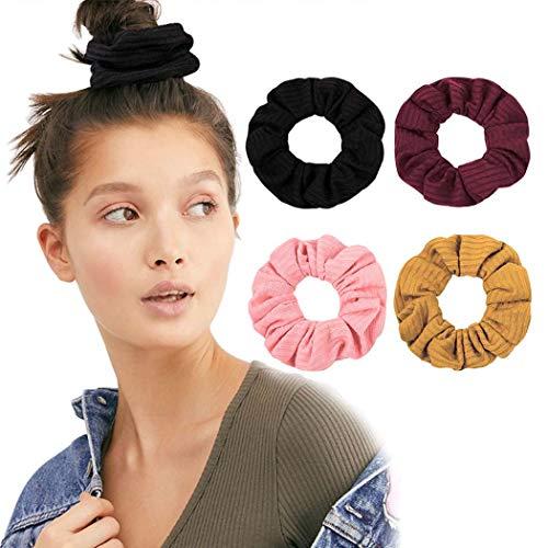 Genglass Élastiques à cheveux Rose Chouchous Stretch Accessoires de corde à cheveux pour femmes et filles (Pack de 6)