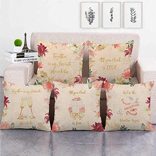 QZH Square Throw Pillowcase,green cushions,Cushion Covers 5 Pieces Linen Throw Pillow Covers Case Square For Sofa Home Decorative Livingroom Bed Office Car Waist (Without Core) 18x18inch Garland love