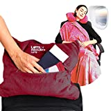 4 in 1 Travel Blanket - Lightweight, Warm and Portable. The Latest Small Compact Airplane Blankets & Pillow Set. Made of Warm Plush, 2 Practical Mesh Pockets with Carry & Luggage Straps (Wine Red)