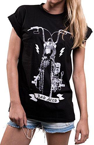 MAKAYA Oversize Top Motorista Manga Corta - Anarchy Chopper - Camiseta Moto Mujer Negro M