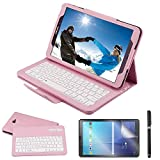 REAL-EAGLE Coque Galaxy Tab A 10.1 QWERTY Clavier Bluetooth Étui Housse, sans Fil Bluetooth Keyboard Cuir Smart Case Clavier pour Samsung Galaxy Tab A6 10.1 2016 SM-T580/T585, Pink