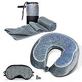 Cloudz Cool Gel & Bamboo Memory Foam Travel Set - Includes Travel Neck Pillow, Travel Blanket & Sleep Mask - Grey