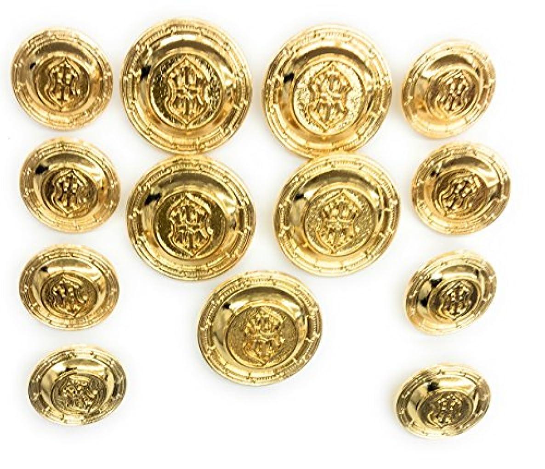13 Gold Buttons Set - Cross Crest~ 14kt Plated ~Celebrities , Designers.