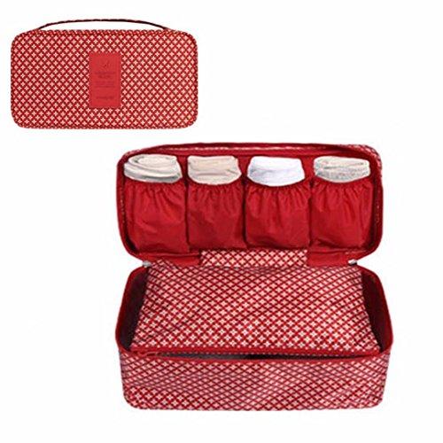GossipBoy Neceser multiusos, con divisores para almacenar ropa interior, para sujetadores y braguitas, bolsa portátil para viajes, tela, Rojo, 13x12x26