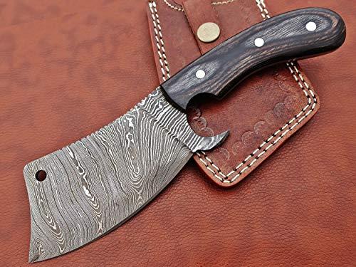 Cuchillo de carnicero de acero de Damasco forjado a mano de 25,4 cm de largo, escala de madera de nogal natural, funda de piel de vaca incluida