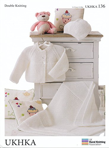 Dubbel breien DK patroon - Baby lange mouwen vest deken & hoed (UKHKA 136)