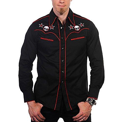 Banned Hemd Skull Shirt Black-red S