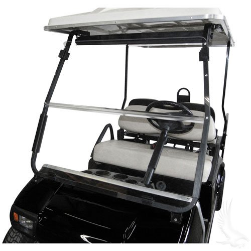 Club Car DS 2000.5 to Current Clear Fold Down Impact Resistant Windshield for CC DS 2000.5 to Current Golf Cart
