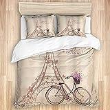 Funda nórdica, Bonjour Paris Torre Eiffel y Bicicleta Vintage con Flores Impresión artística Retro de Color Suave, Juego de Cama con 1 Funda de Quit y 2 Fundas de Almohada Estilo