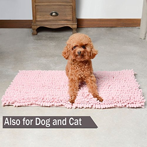 "HomDSim 18"" x 28"" Shaggy Bathroom Bath Shower Rugs Mat Carpet Floor Non-Slip Soft Chenille Plush Absorbent Luxury Microfiber Bristles Washable Kitchen Laundry Rug Bedroom Blanket"