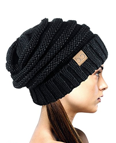 NYFASHION101 Exclusive Oversized Baggy Slouchy Thick Winter Beanie Hat - Black Metallic